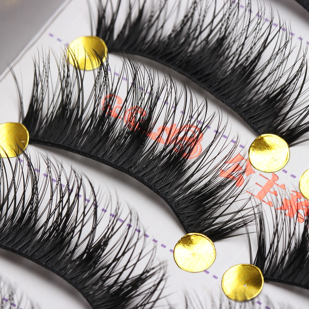 5 Pair Natural Long Black Eye Lashes Handmade Thick Fake False Eyelashes HOT 2