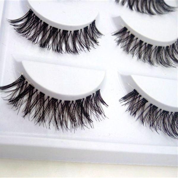 5 Pairs Natural Fashion Eyelashes Eye Makeup Handmade Cross Long False Lashes 2