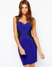 Lipsy Lace Applique Body-Conscious Dress with Open Back