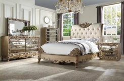 orianne collection bedroom set gold wood and mirrored inside mirrored bedroom furniture