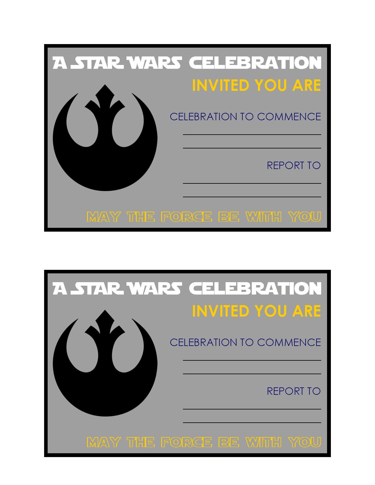 Free Star Wars Birthday Party Printables invitations
