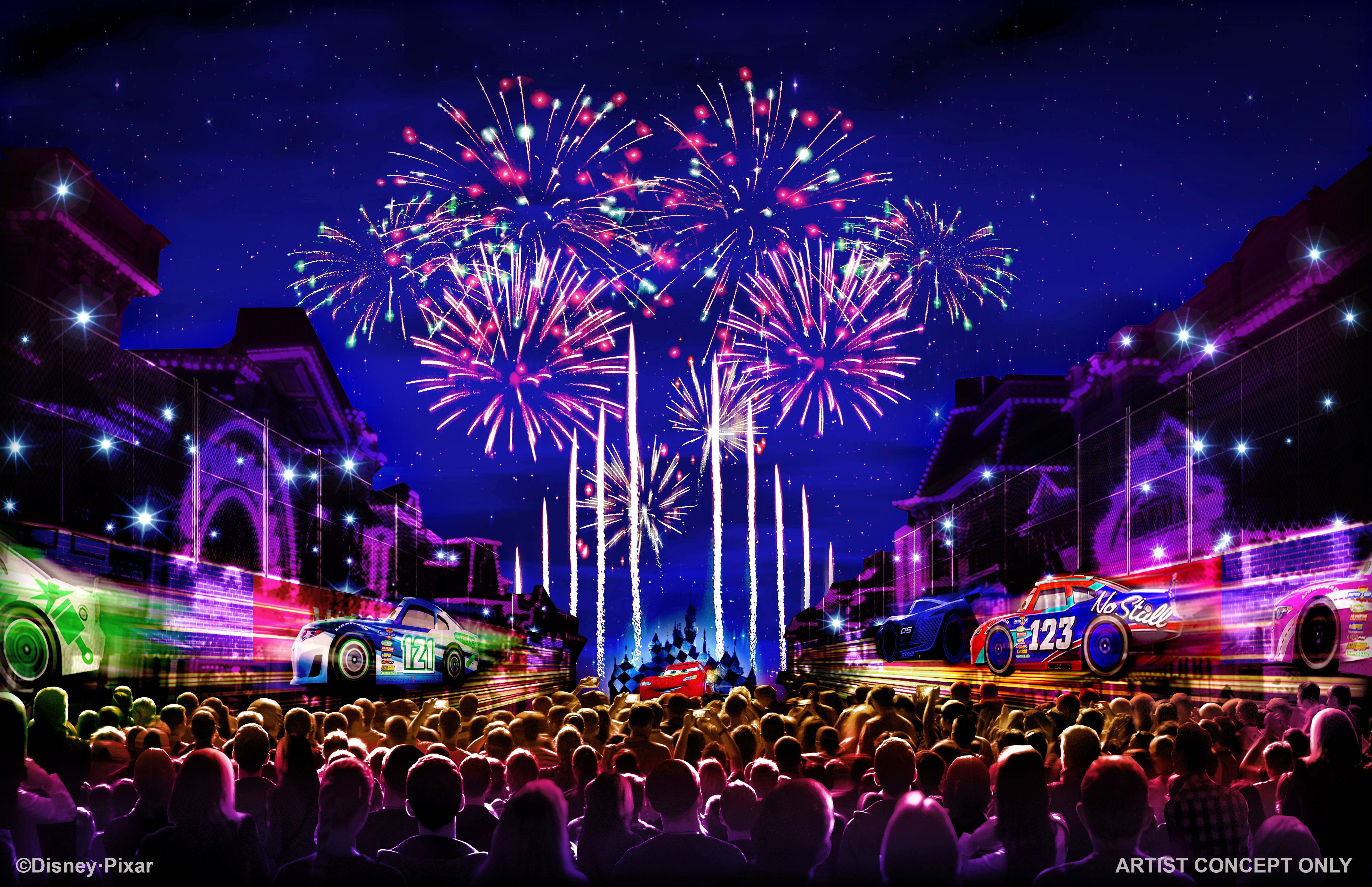 "Artist concept for ""Together Forever – A Pixar Nighttime Spectacular"" firework show"