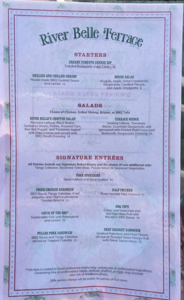 A Look at the New River Belle Terrace Menu and Dining Areas