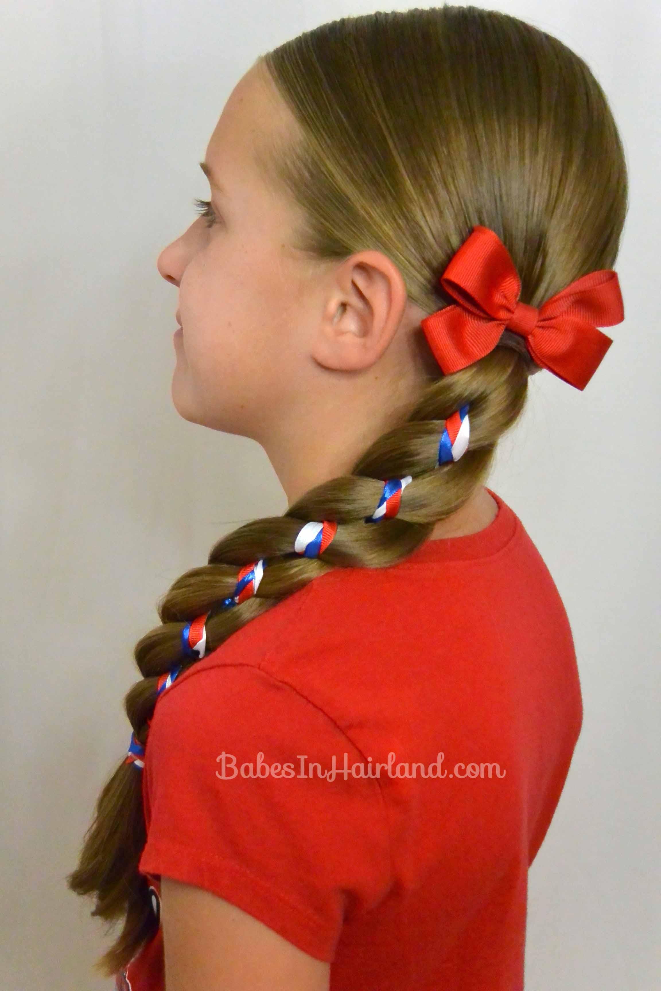 Ribbon Braid In A 4 Strand Braid 4th Of July Hairstyle