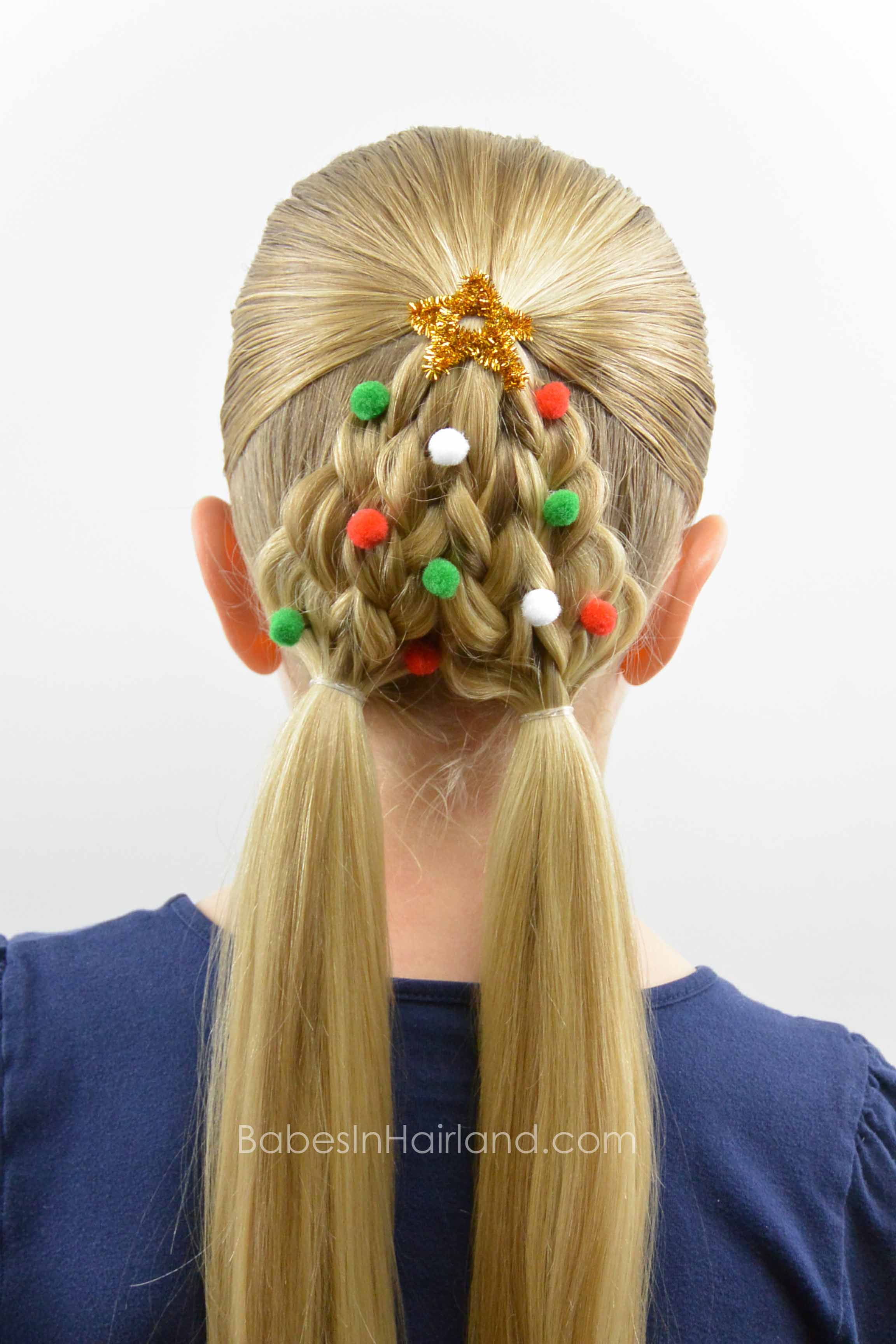 braided christmas tree hairstyle - babes in hairland