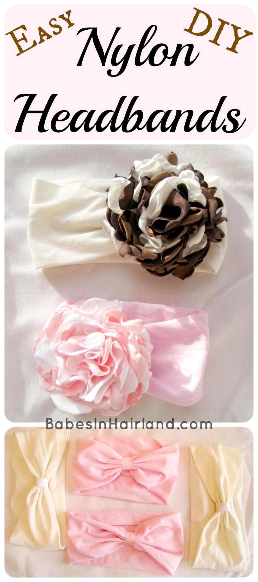 How To Make Flowers Out Of Ribbon For Baby Headbands : flowers, ribbon, headbands, Nylon, Headband, Babes, Hairland