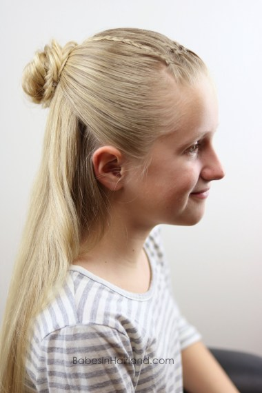 Try this half-up with accent braids style with 3 different looks. Combine micro braids, a fishtail braid and a flower bun and you can create 3 beautiful hairstyles. BabesInHairland.com
