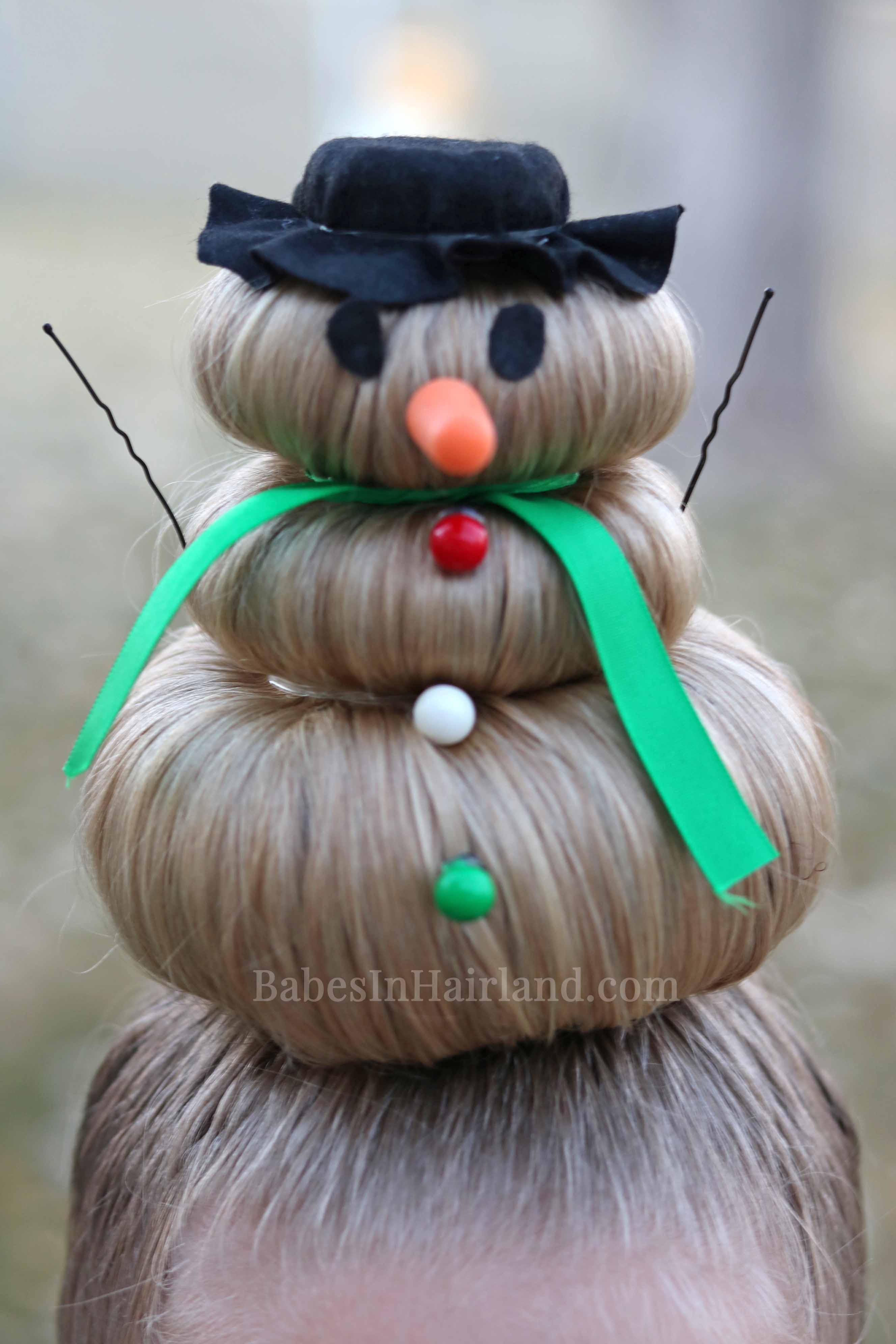 Snowman Hairstyle For Crazy Hair Day (or Christmas