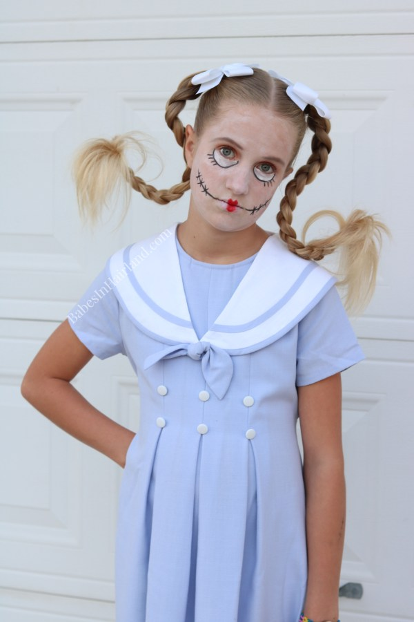Creepy Doll - Broken Doll Costume for Halloween from BabesInHairland.com #halloween #costume #braids #halloweenmakeup #hair