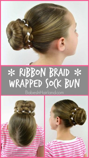 Ribbon Braid Wrapped Sock Bun from BabesInHairland.com #bun #ribbon #braid #sockbun