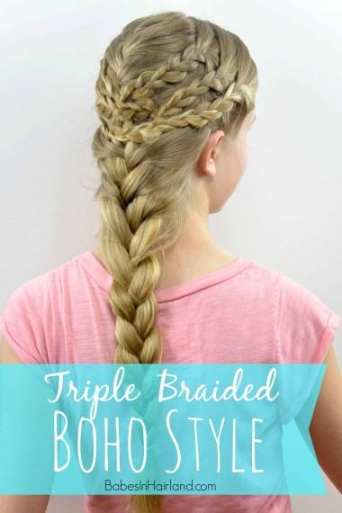 Triple Braided Boho Style from BabesInHairland.com #boho #braids #frenchbraid #hairstyle