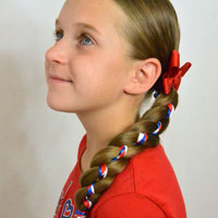 Ribbon Braid in a 4 Strand Braid | 4th of July Hairstyle