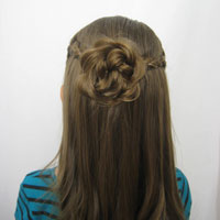 Braided Pullback & Flower Bun