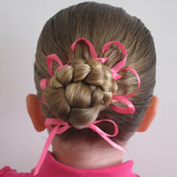 Bun with a Woven Ribbon Flower
