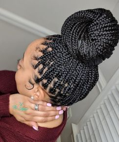 Box Braid wrapped With a Bun