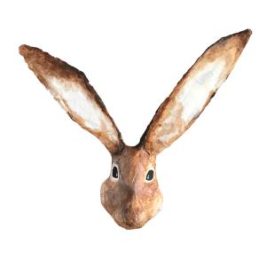 papiermache dierenkop van een haas met hele lange oren. leuk voor aan de muur. leuk als paaskado