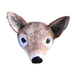 papiermache dierenkop van een vos voor aan de muur