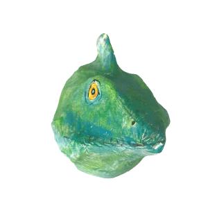 papiermache dierenkopje van een groene gekko