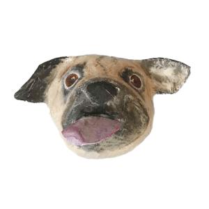 papiermache dierenkop van een hond ras pug