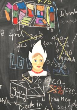 papiermache portret van meisje klederdracht