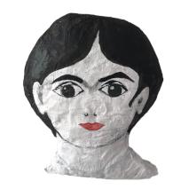 papiermache gelijkend op frida kahlo