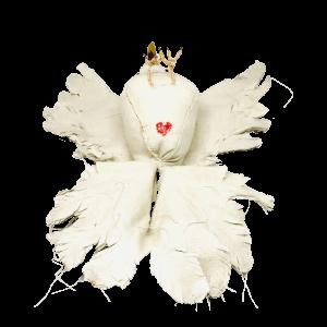 duif op zijn rug bezien vanaf zijn cloaca vormgegeven als hartje, typerend voor babetteswereld