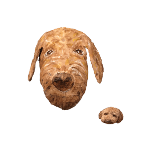 huisdier papiermache hond geportretteerd