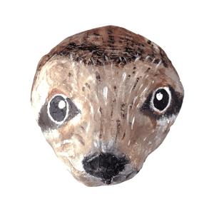 papiermache dierenkop van een luiaard