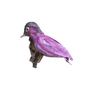roze vogeltje van papiermache