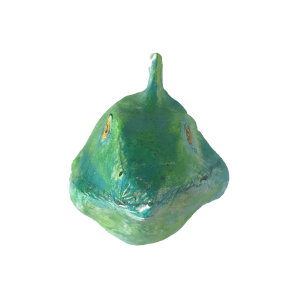 gekko voorkant gemaakt van papiermache door babetteswereld