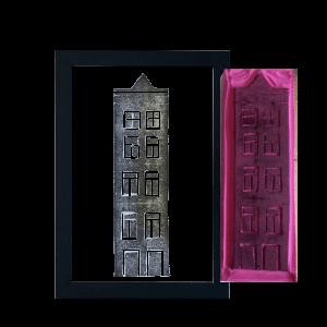 handgemaakte stempel van een grachtenpand in amsterdam
