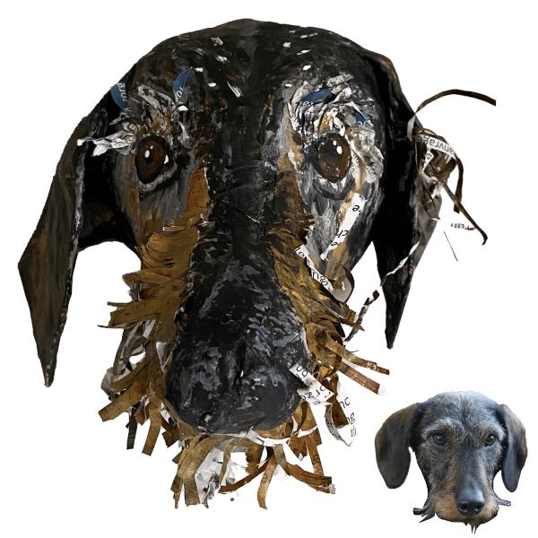 dachshund tekkel papiermache huisdierportret