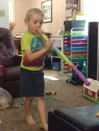Using a water gun as a trumpet