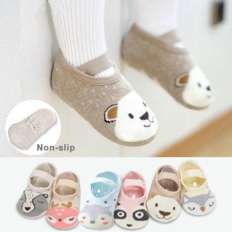 1 Pair Fashion Baby Girls Boys Cute Cartoon Non slip Cotton Toddler Floor Socks Animal pattern
