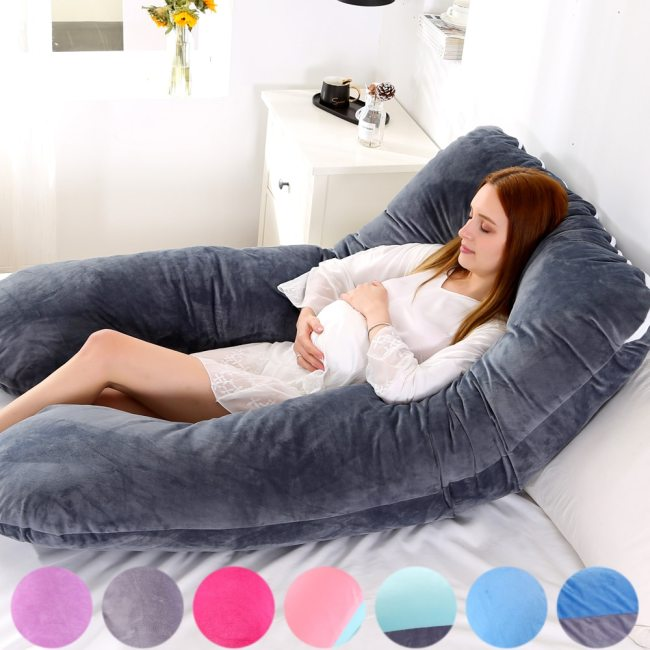 116x65cm Pregnant Pillow Case Gravida U Type Lumbar Pillowcase Multi Function Side Protect Cushion cover for 1