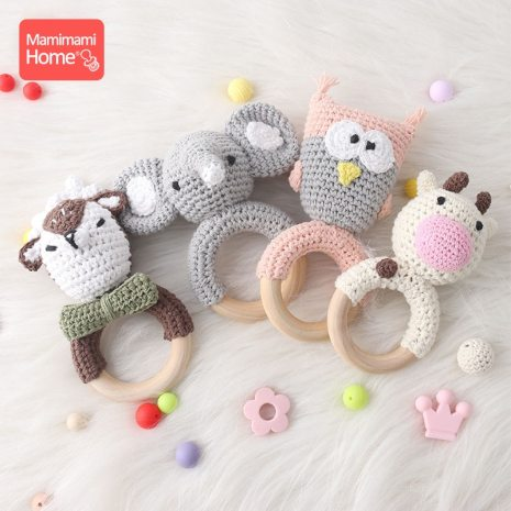 1Pc Baby Wooden Teether Crochet Giraffe Rattle Toy BPA Free Wood Rodent Rattle Baby Mobile Gym 5