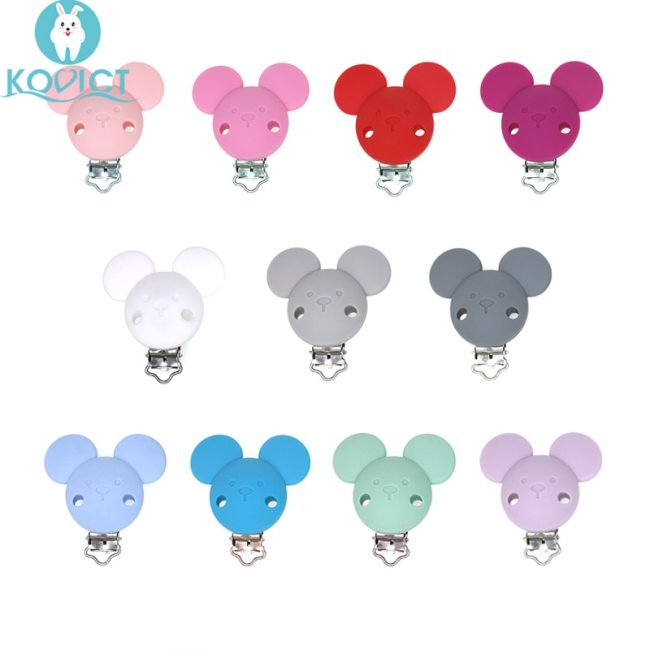 3Pcs Baby Pacifer Clips Mouse Shape Perle Silicone Teether Clip DIY Baby Dummy Chain Nipple Holder