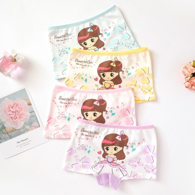4 Pieces Lot 2 12Y Children Underwear High Quality Cotton Girls Panties Cute Cat Pattern Kids 4