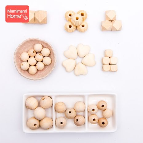 45pc Wooden Beads Baby Teether Making Pacifier Chain Wooden Rodent DIY Crafts Newborn Teething DIY Accessories