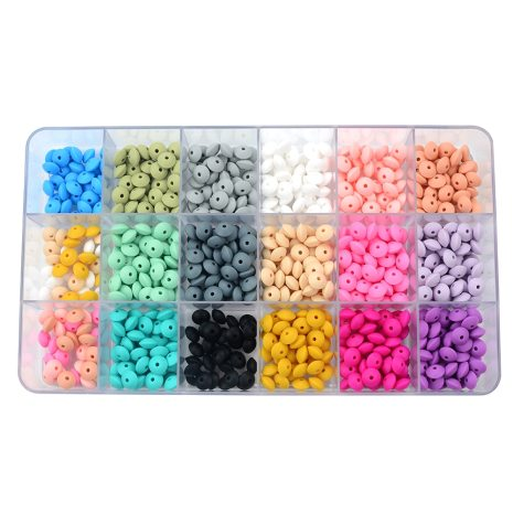 50pcs lot 12mm Silicone lentil Beads Silicone BPA Free DIY Charms Newborn Nursing Accessory Teething Necklace 2