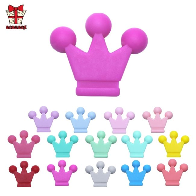BOBO BOX 10pcs Baby Teething Toys Crown Silicone Beads Food Grade Silicone DIY Pacifier Chain Pendant 1