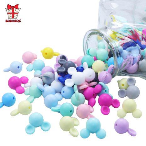 BOBO BOX 10pcs Mickey Baby Teething Beads Food Grade Cartoon Mouse Shape Beads For Necklaces BPA 3