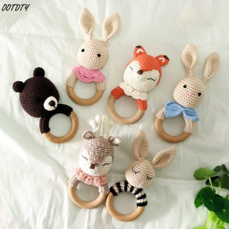 BPA Free Crochet Wooden Ring Baby Teether Safe Cute Animal Rattle Chewing Teething Nursing Soother Molar