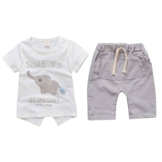 Baby Boy Clothes 2018 Summer Brand Infant Clothing Elephant Short Sleeved T shirts Tops Striped Pants 4