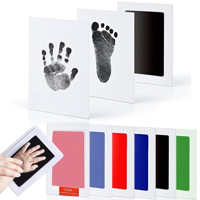 Baby Care Non Toxic Baby Handprint Footprint Imprint Kit Baby Souvenirs Casting Newborn Footprint Ink Pad