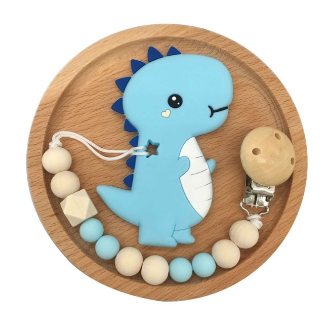 Baby Pacifier Clip Chain Cartoon Dinosaur Teether Wooden Beads Dummy Clip Soother Chew Leash Nipple Holder 2
