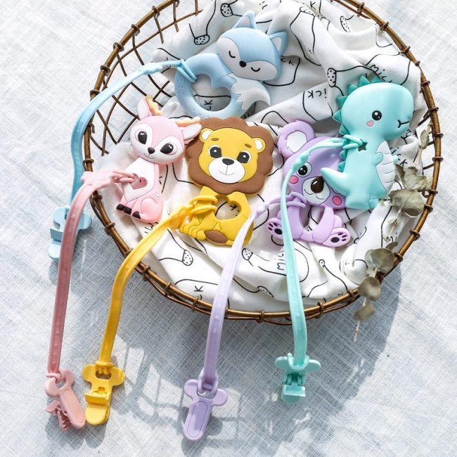 Baby Pacifier Clips Chain BPA Free Food Grade Siicone Teether Cartoon DIY Pacifier Holder For Kids