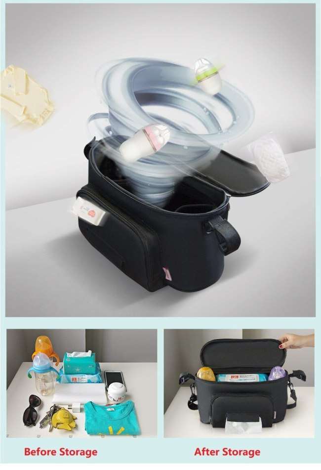 Baby Stroller Diaper Bag Mom Bag large capacity Storage bag on handrial stroller Hanging bag can 5