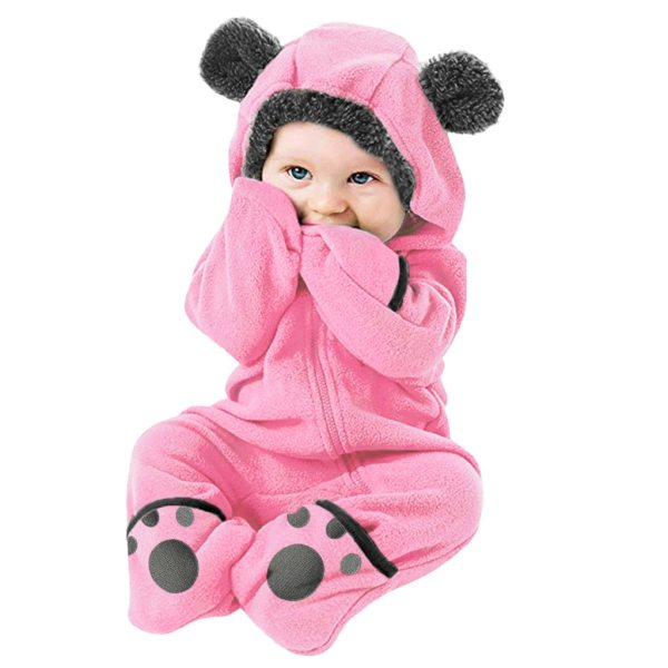 Baby winter clothes baby footed romper Infant Baby Girls Boys Solid Cartoon Fleece Ears Hoodie Romper 1