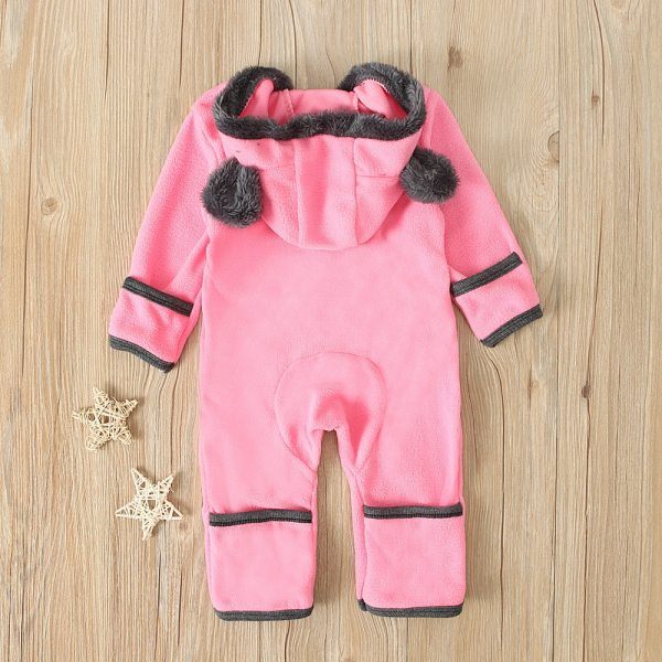 Baby winter clothes baby footed romper Infant Baby Girls Boys Solid Cartoon Fleece Ears Hoodie Romper 4